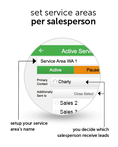 set servic areas per salesperson